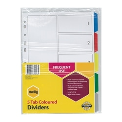 Marbig Indices & Dividers 5 Tab PP A4 Multi Colour