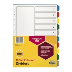 Marbig Indices & Dividers 10 Tab PP A4 Multi Colour