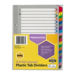 Marbig Indices & Dividers A-Z Tab Reinforced A5 Colour
