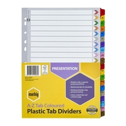 Marbig Indices & Dividers A-Z Tab Reinforced A4 Colour