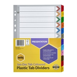 Marbig Indices & Dividers Jan-Dec Tab Reinforced A4 Colour