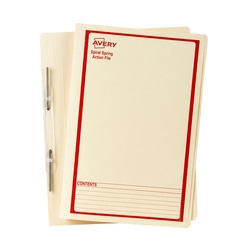 Avery Buff Spiral Spring Action File with Red Print Foolscap 355 x 241 mm 25 Files (86514)