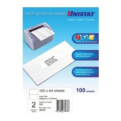 Unistat Laser/Copier Label 2up 100 Pack