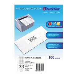 Unistat Laser/Copier Label 33up 100 Pack