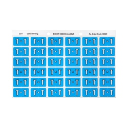 Avery T Side Tab Colour Coding Labels for Lateral Filing 25 x 38 mm Blue 180 Labels (43320)