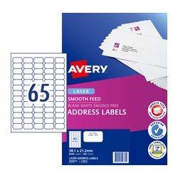 Avery Quick Peel Address Labels with Smooth Feed  for Laser Printers 38.1 x 21.2 mm 6500 Labels (959371 / L7651)