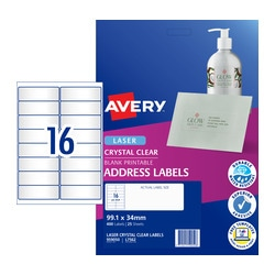 Avery Crystal Clear Address Labels for Laser Printers 99.1 x 34 mm 400 Labels (959050 / L7562)