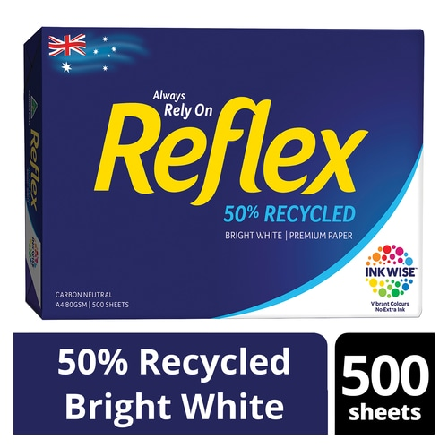Copy Paper A4 80gsm Reflex 50% Recycled White Ream of 500 sheets