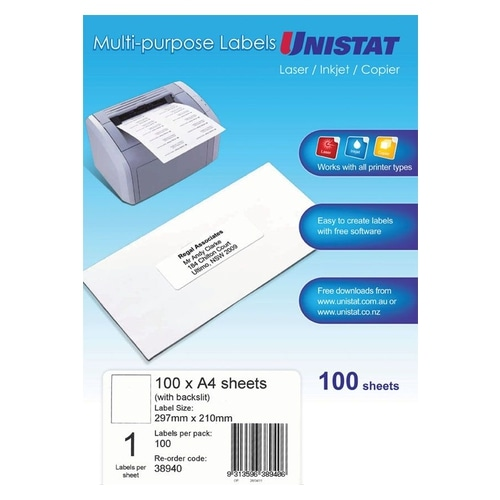 Unistat Laser/Copier Label 1up B/Slit Box Of 100
