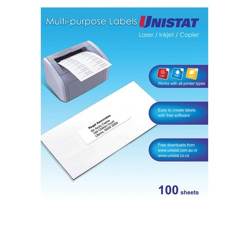Unistat Laser/Copier Label 65up 100 Pack
