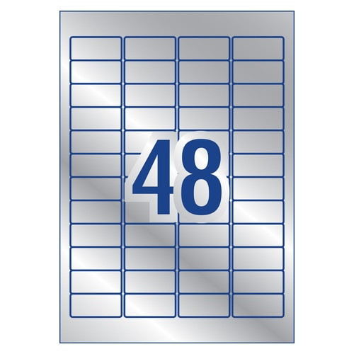 Avery Silver Heavy Duty Labels For Laser Printers 45.7 X 21.2 Mm 960 Labels (959201 / L6009)